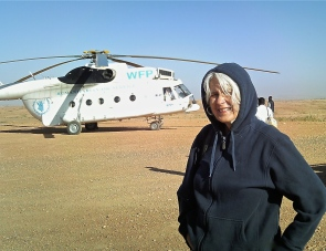 Riding WFP chopper to Darfur